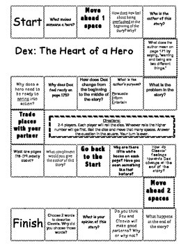 """Dex: The Heart of a Hero"" Comprehension Game Board- Journeys story 2nd grade"