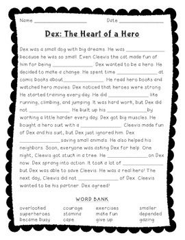 Dex: The Heart of a Hero - Fill in the Blank