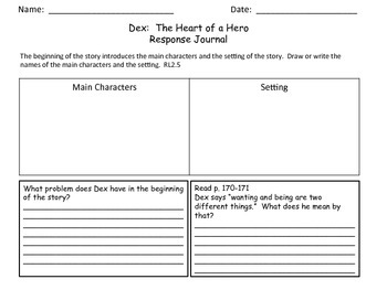 Dex The Heart of a Hero Journey's Supplemental Activities Unit 4 Lesson 20