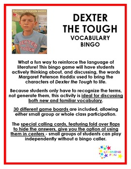 Dexter the Tough Vocabulary Bingo