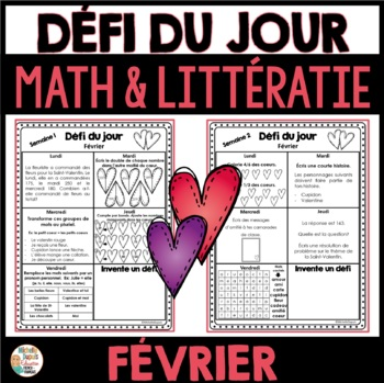 Défi du jour - Février  (French Problem of the day and Literacy FUN!)