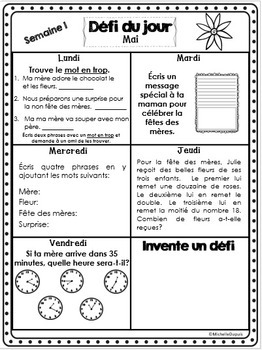Défi du jour - Mai  (French Problem of the day and Literacy FUN!)