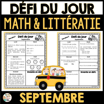 Défi du jour - septembre (French Problem of the day and Literacy FUN!)