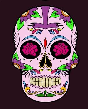 Dia De Los Muertos - Colorful Skulls Banner (Plus Coloring Pages)