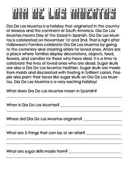 Dia De Los Muertos Coloring Page & Reading Comprehension- ELEM Social Studies