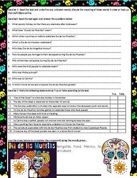 Dia De Los Muertos - Reading Comprehension
