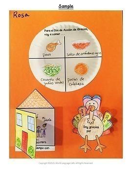 Spanish Thanksgiving Día de Acción de Gracias Actividades, Writing, Activities