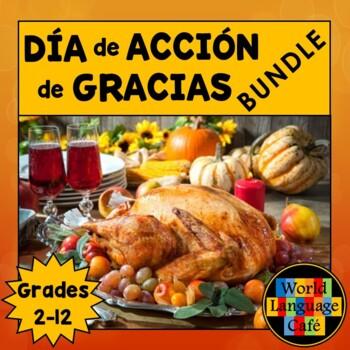 Spanish Thanksgiving Día de Acción de Gracias Bundle, Writing, Activities