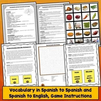 Spanish Thanksgiving Games, Activities, Actividades, Día de Acción de Gracias
