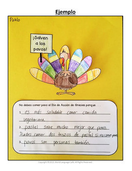Spanish Thanksgiving Writing Activities, Día de Acción de Gracias