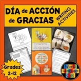 Spanish Thanksgiving Writing Activities, Escritura, Día de