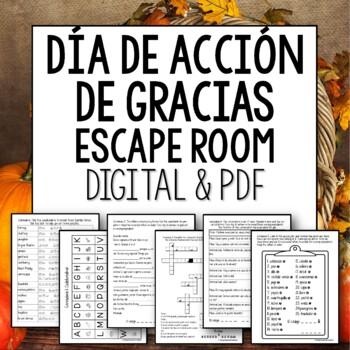 Día de Acción de Gracias Break Out Room Spanish Thanksgiving Escape Room