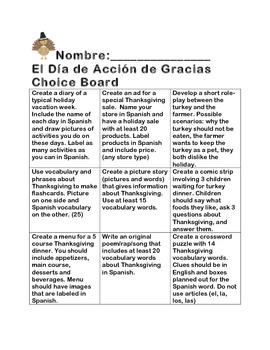 Dia de Accion de Gracias Choice Board