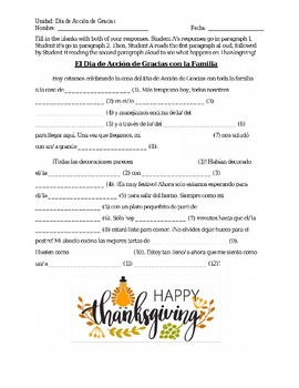 Dia de Accion de Gracias Mad Lib Info Gap