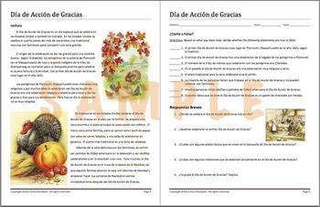 Dia de Accion de Gracias - Spanish Lesson about Thanksgiving