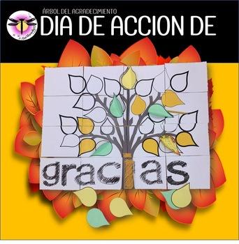 Día de Acción de Gracias Thanksgiving Activity Poster: Arbol del agradecimiento
