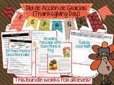 Día de Acción de Gracias (Thanksgiving) Spanish Class activities ALL LEVELS