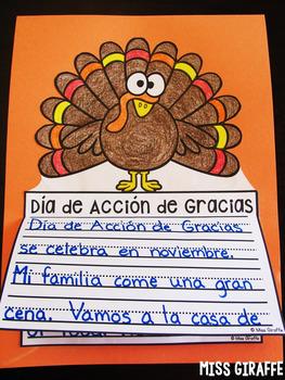 Día de Acción de Gracias actividades de escritura