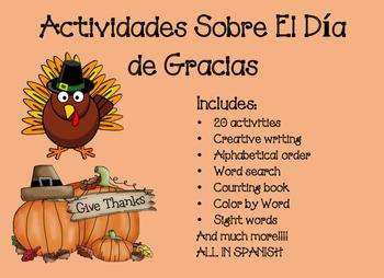 Dia de Gracias Actividades 2 Thanksgiving bundle 2