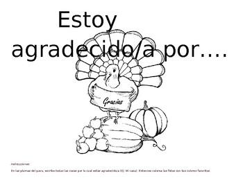 Día de Gracias: Coloring and Word page