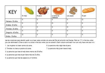 Día de Gracias Logic Puzzle- Spanish Thanksgiving Logic Puzzle