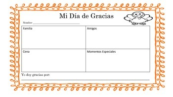 Dia de Gracias/Thanksgiving Activity Bundle Spanish