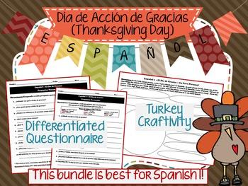 Día de Acción de Gracias (Thanksgiving) Spanish Class activities