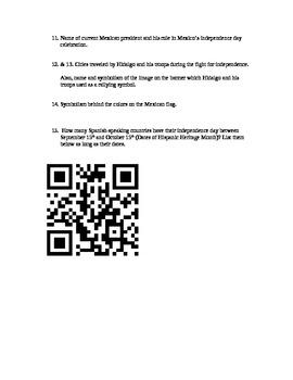 Dia de Independencia Mexico Scavenger hunt with QR codes