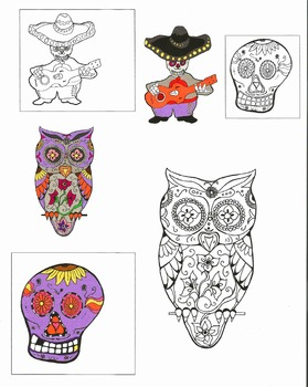 Dia de Los Muertos Commercial Clip Art / Coloring Pages