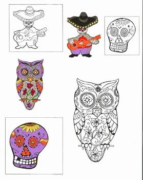 Dia de Los Muertos Commercial Clip Art / Coloring Pages