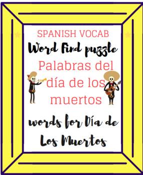 Dia de Los Muertos Word Search El día de los muertos búsqueda de palabras