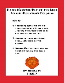 Dia de Muertos/Day of the Dead One-step Equation Coloring-6.EE.7