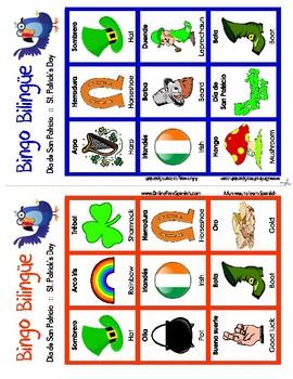 Día de San Patricio - Bingo Bilingue - St. Patrick's Day - Bilingual Bingo