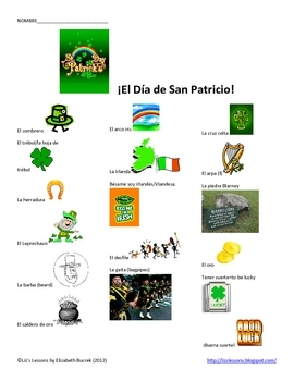 Dia de San Patricio! Spanish St. Patrick's Day Vocabulary & Activities