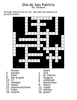 """Dia de San Patricio"" (St. Patrick's Day) Crossword"