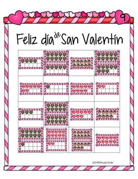 Día de San Valentín  --10 Frame Bingo- (numbers 1-20)
