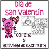 Día de San  Valentín Corona y actividad de escritura