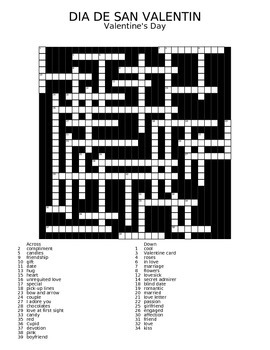 """Dia de San Valentin"" Crossword"