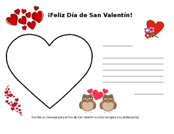 Día de San Valentín Note writing activity