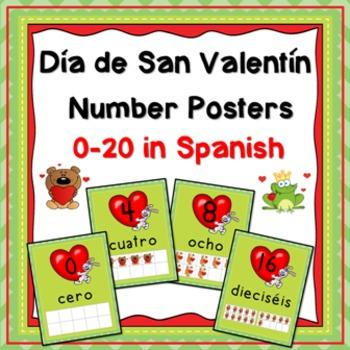 Numeros: Dia de San Valentin Number Posters in Spanish
