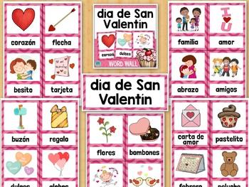 Día de San Valentín SPANISH Valentine's Day Vocabulary Word Wall