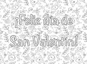 Día de San Valentín Spanish Coloring Valentine