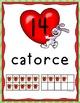 Spanish Numbers : Día de San Valentín Number Posters (0-20 with Ten Frames)