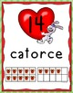 Dia de San Valentin Number Posters (0-20 with Ten Frames)