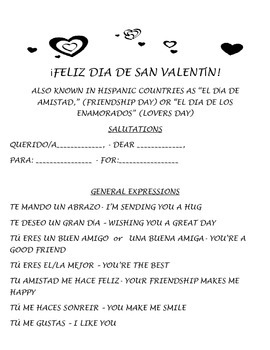 Dia de San Valentin - Valentine's Day Card or Letter Prompts Spanish-English