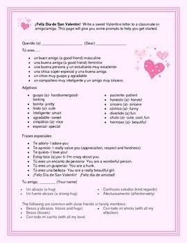 Dia de San Valentin (Valentine's Day) Letter Writing Prompt