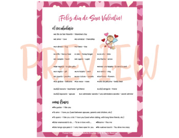 Día de San Valentín: Vocabulary List