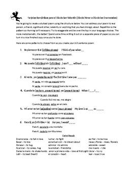 Día de San Valentín stylized poem - 8 line poem for novice to advanced students