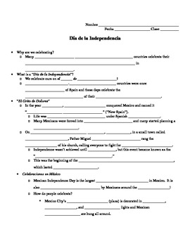 Día de la Independencia Guided Notes Worksheet