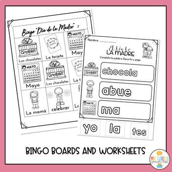 Mother's Day in Spanish Cards, Bingo, Worksheets - Dia de la Madre
